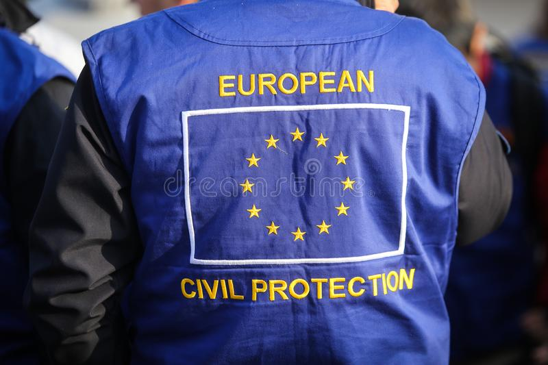 European civil protection and humanitarian aid operations uniform. On a man royalty free stock photo