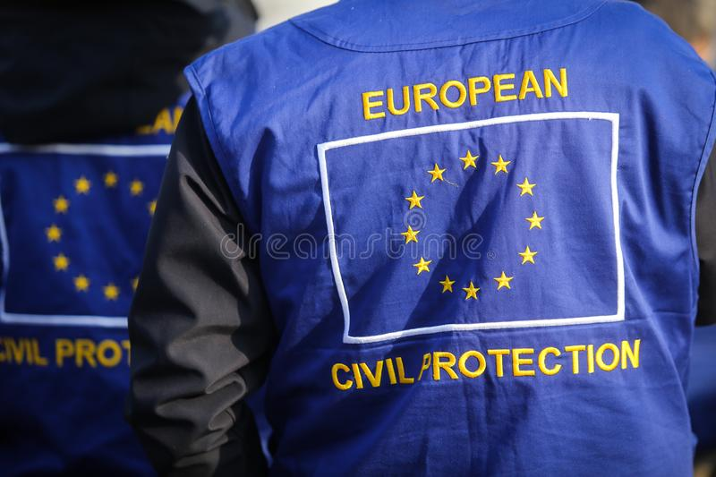 European civil protection and humanitarian aid operations uniform. On a man stock photography