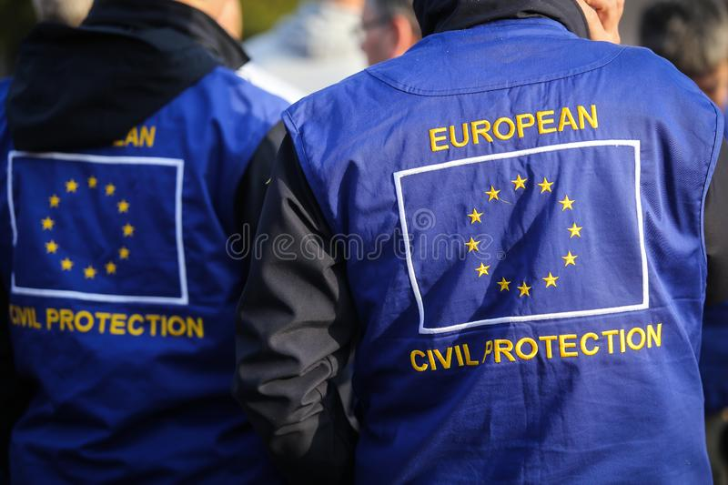 European civil protection and humanitarian aid operations uniform. On a man stock photo