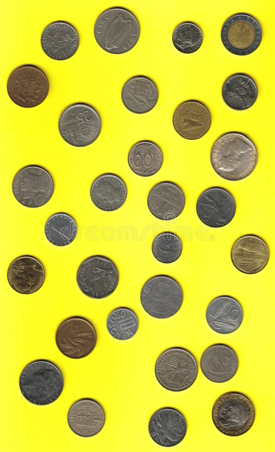 European coins before euro royalty free stock photography