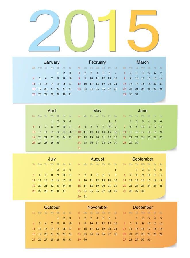 European color vector calendar 2015 stock illustration