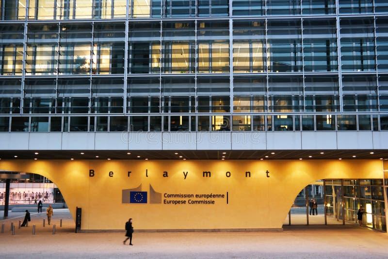 European Commission. BRUSSELS, BELGIUM - OCTOBER 2014: Berlaymont the European commission building during dusk stock images