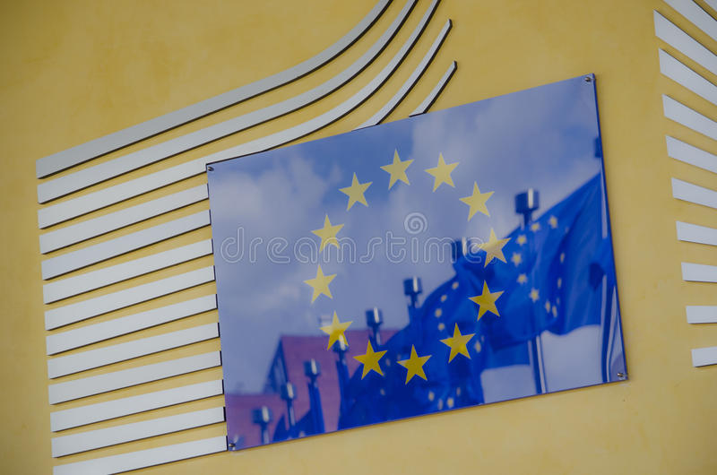 European Commission. Close-up of the Entrance of the headquarters of the European Commission royalty free stock photos