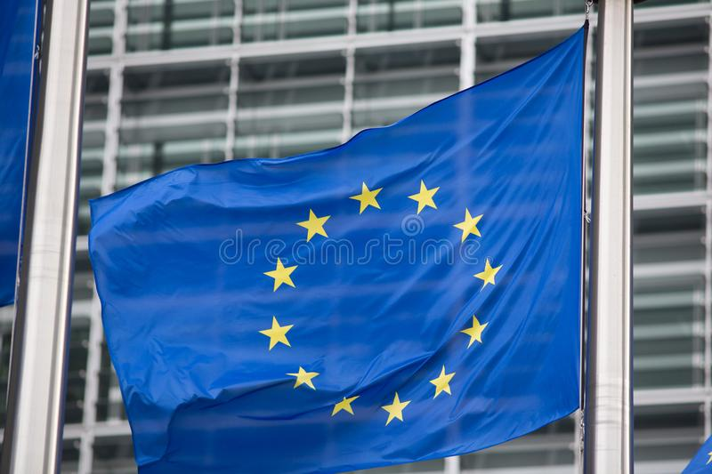 European Commission EU flag in Brussels royalty free stock photos