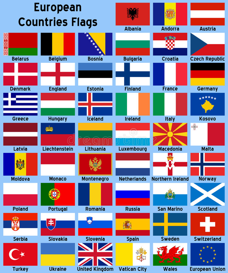 European Countries Flags. Illustrations showing all the European countries flags (Albania, Andorra, Austria, Belarus, Belgium, Bosnia, Bulgaria, Croatia, Czech