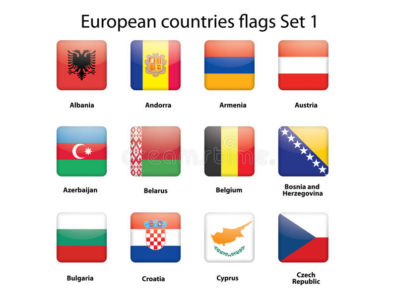 European Countries Flags Set 1 Royalty Free Stock Image