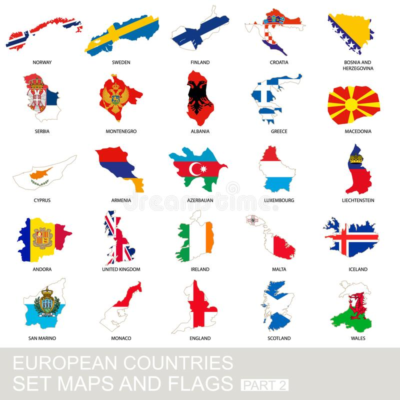 European countries set, maps and flags royalty free illustration