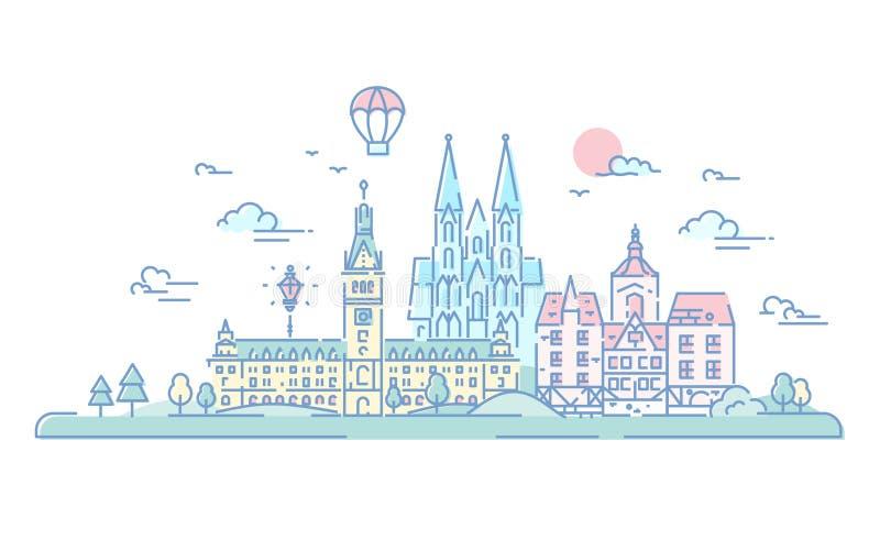 European countries - vector line travel illustration. European countries - modern vector line travel illustration. Netherlands and Germany. Destination scenics vector illustration