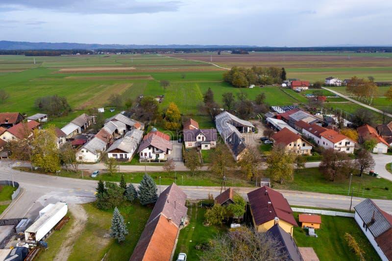 European countryside from the air, village in pannonian plain, Dravsko polje, Slovenia stock image