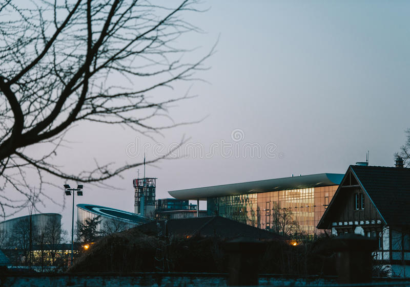 European Court of human Rights and Agora building. Seen at dusk - Strasbourg, France stock image