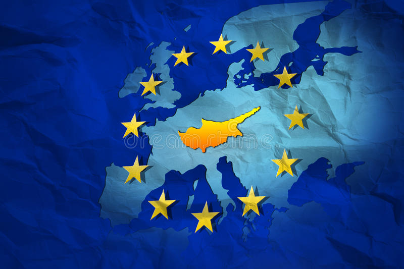 Cyprus contour at the creased map of European Union