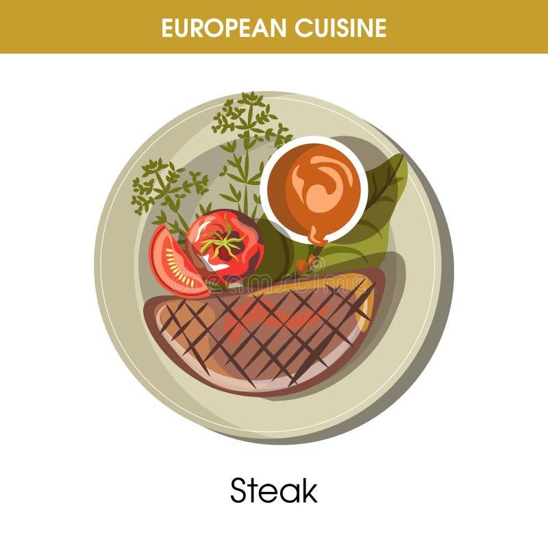 European cuisine meat steak traditional dish food vector icon for restaurant menu. European cuisine beefsteak or meat steak traditional dish with vegetables stock illustration