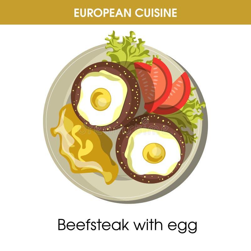 European cuisine beefsteak egg traditional dish food vector icon for restaurant menu. European cuisine beefsteak or meet steak with egg traditional dish with stock illustration