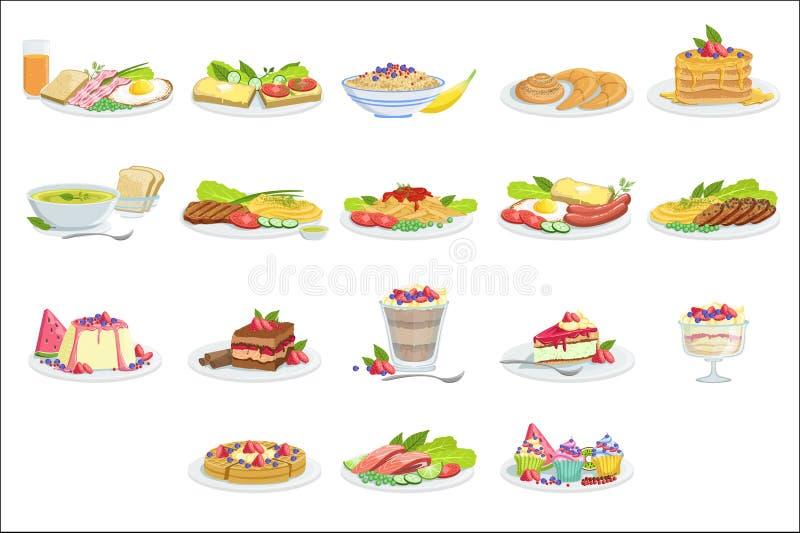 European Cuisine Food Assortment Menu Items Detailed Illustrations. European Cuisine Food Assortment Menu Items Detailed Vector Illustrations. Set Of Cafe Plates royalty free illustration