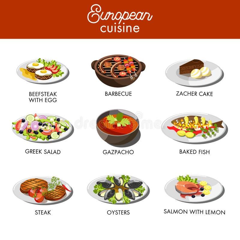 European cuisine food dishes for restaurant vector menu template. European cuisine dishes and traditional food menu for restaurant template. Vector beefsteak royalty free illustration