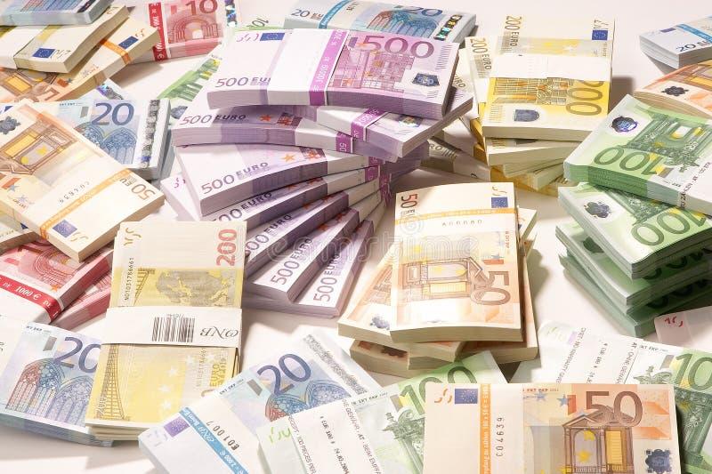 European Currency - Euro. A pile of papermoney on white background - gestapelte Geldscheine vor weissem Hintergrund stock photography