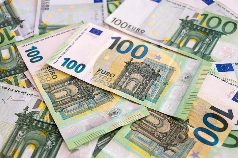 The European currency 100 Euro cash bills royalty free stock image