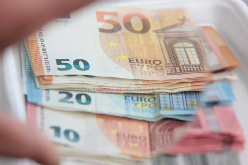 European currency in small banknote paper stock photography