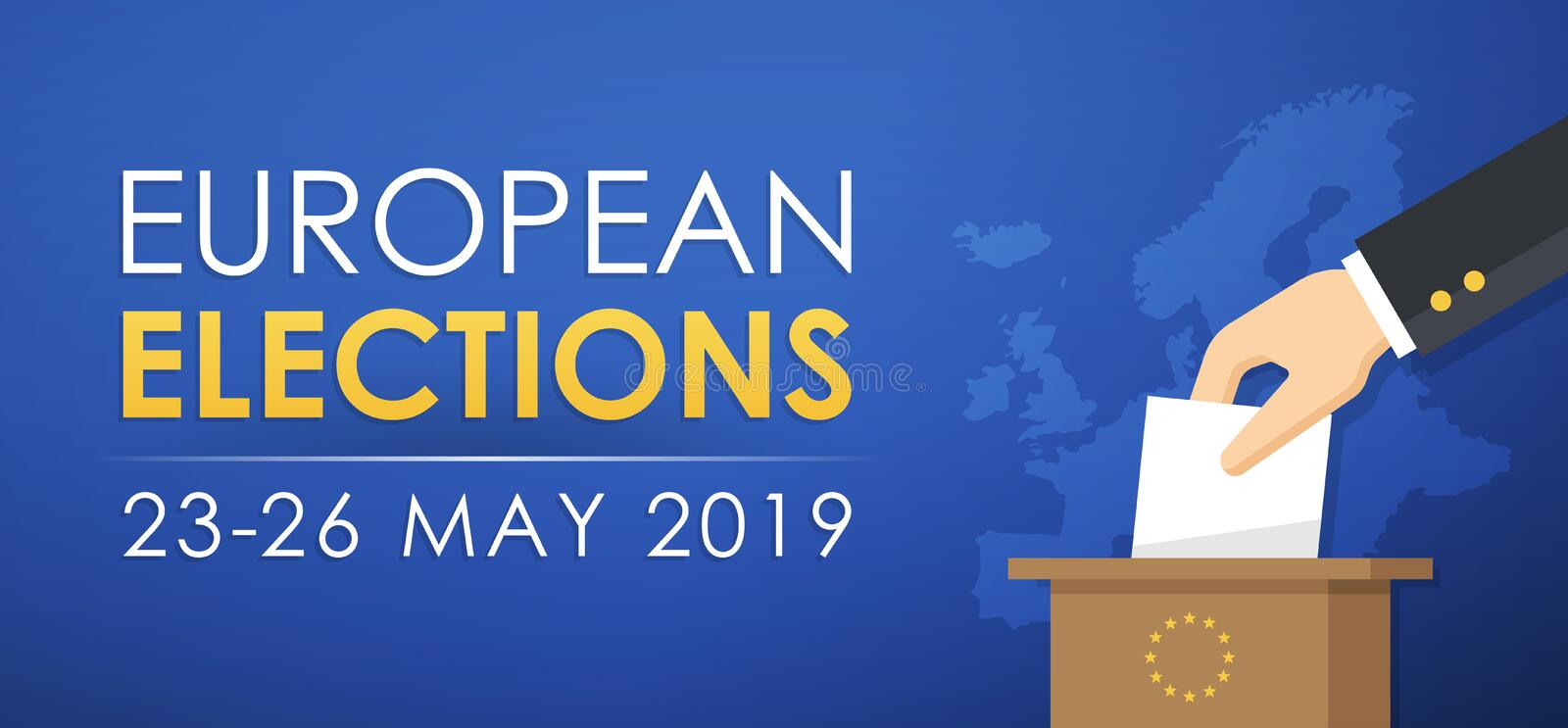 European Elections 2019. European Elections banner, 23-26 May 2019 stock illustration