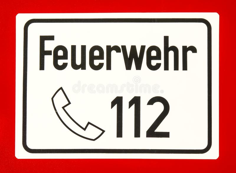112, European emergency number of fire department. And ambulance royalty free stock photos