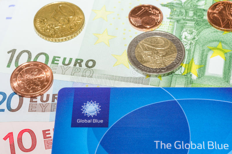 European Euro bank notes Cent coins and Global Blue card stock images