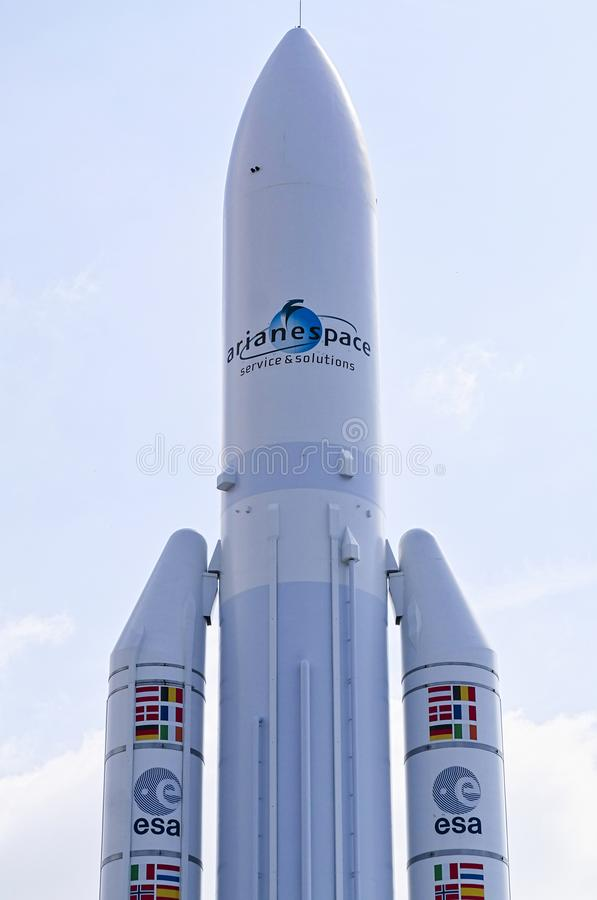 European expendable launch system Ariane rocket at the Le Bourget Air Show in France. PARIS, FRANCE - JUNE 24, 2017 - European expendable launch system Ariane stock image