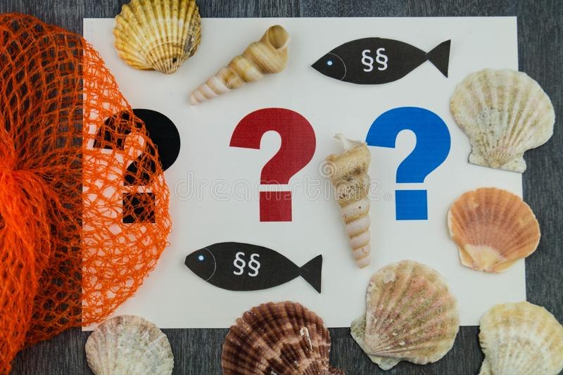 European fishing law. S to protect fish and shells stock photos