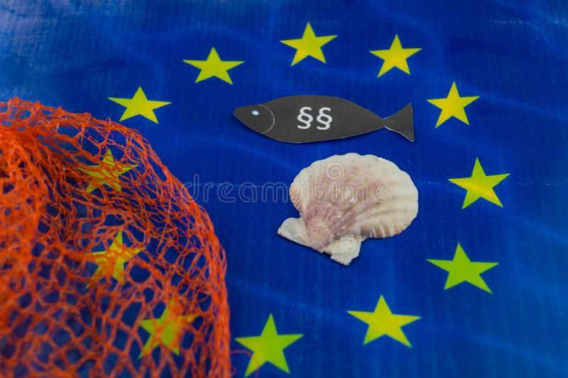 European fishing law. S to protect fish and shells stock images
