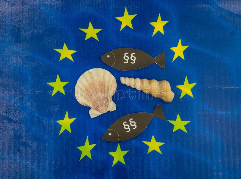 European fishing law. S to protect fish and shells royalty free stock image