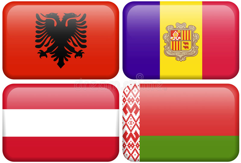 European Flag Buttons: Albania, Andorra, Austria,. Albanian, Andorran, Austrian, and Belarussian flag rectangular buttons. Part of set of country flags all in 2 stock illustration