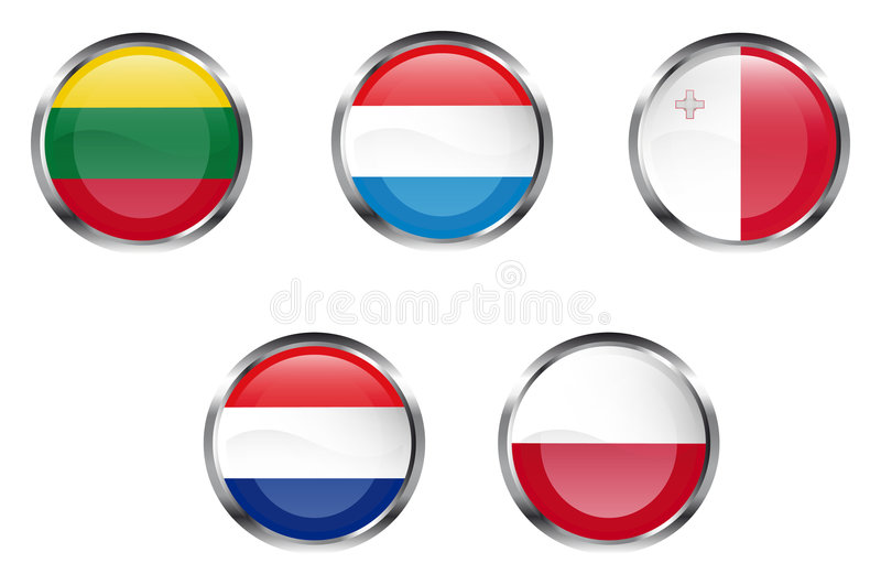 European flag buttons - Part 4. 5 members of European Union flag buttons - Lithuania, Luxembourg, Malta, Netherlands, Poland royalty free illustration