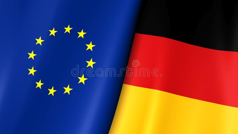 European flag and flag of Germany. Yellow stars on a blue. Council of Europe. 3d illustration stock illustration