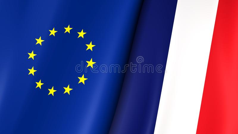 European flag and flag of France. Yellow stars on a blue. Council of Europe. 3d illustration royalty free illustration