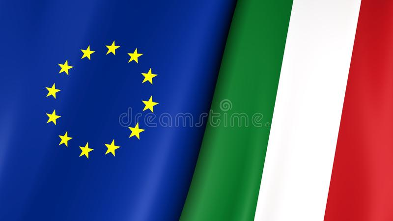 European flag and flag of Italy. Yellow stars on a blue. Council of Europe. 3d illustration vector illustration