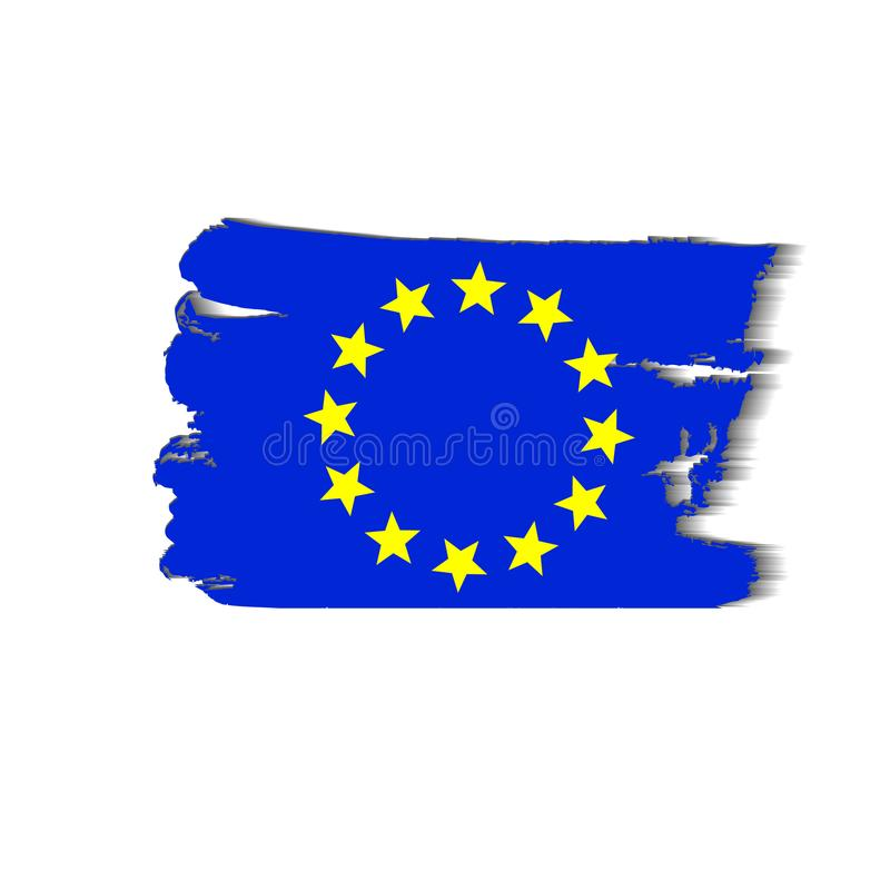 European flag painted by brush hand paints. Art eu flag. Watercolor flag of Europe. European union art flag. stock illustration