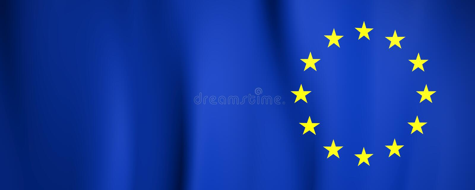 European Flag. Yellow stars on a blue. Council of Europe. 3d illustration royalty free illustration