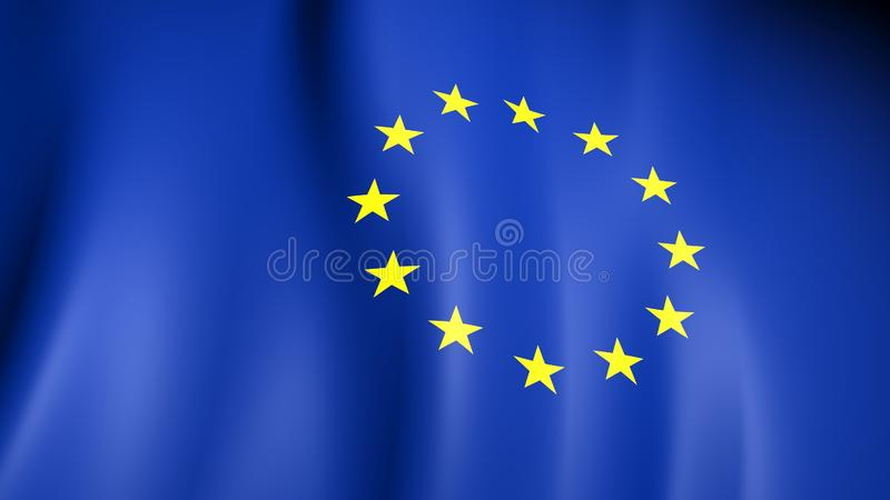 European Flag. Yellow stars on a blue. Council of Europe. 3d illustration vector illustration