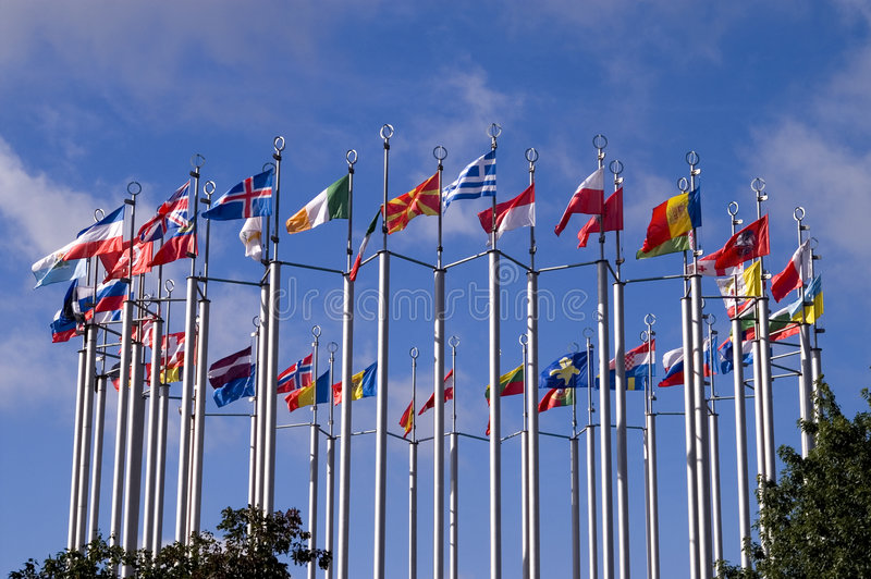 European flags. A set of European flags on square of Europe in Moscow stock photo