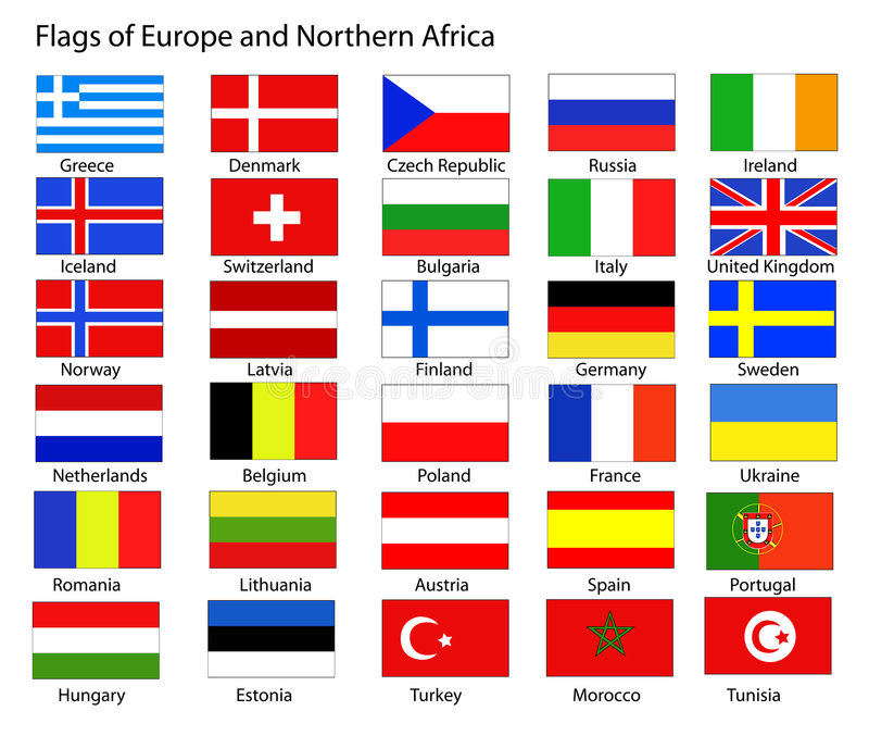 European Flags. Flags of Europe and Northern Africa vector illustration