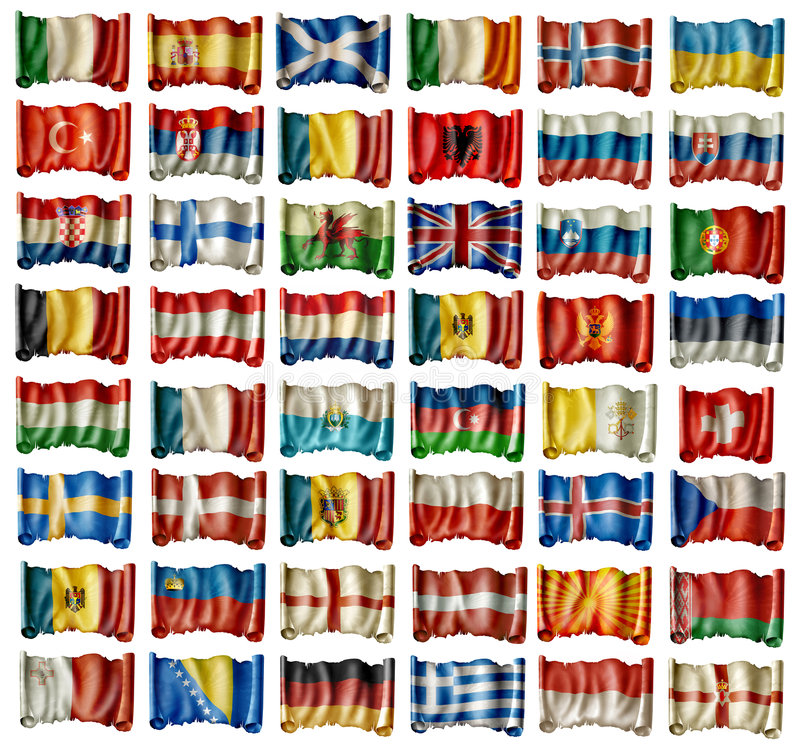 European flags. Collection of all european national flags including scotland wales england and northern ireland stock illustration