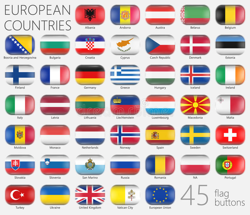 European Flags. Buttons Icons vector illustration