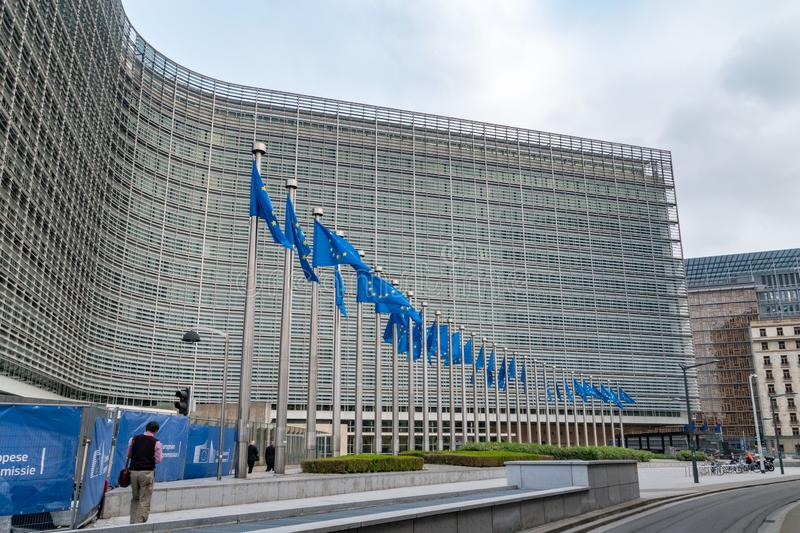 European flags in front of the European Commission headquarters. Russels, Belgium - June 5, 2019: European flags in front of the European Commission headquarters stock images