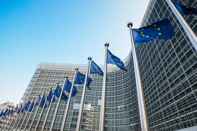 European flags in front of the European Commission headquarters in Brussels, Belgium.  royalty free stock image