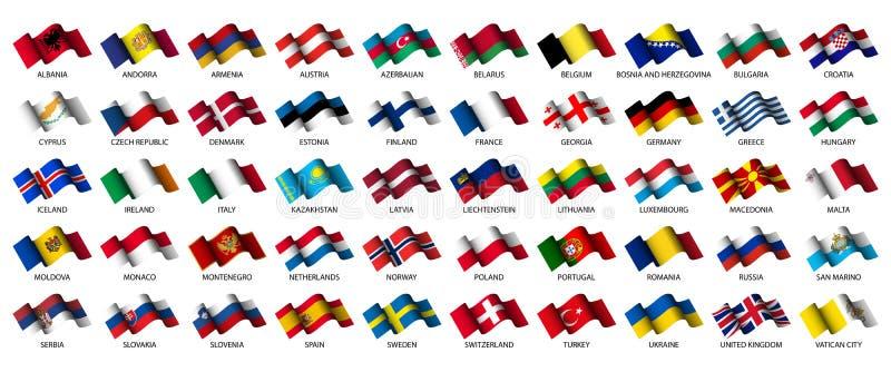 European flags. Set of all european flags on white background stock illustration
