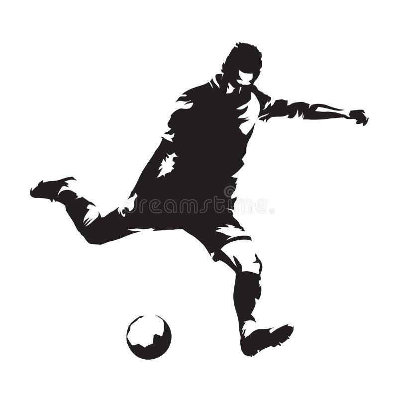 European football player shooting ball, soccer. Isolated vector stock illustration