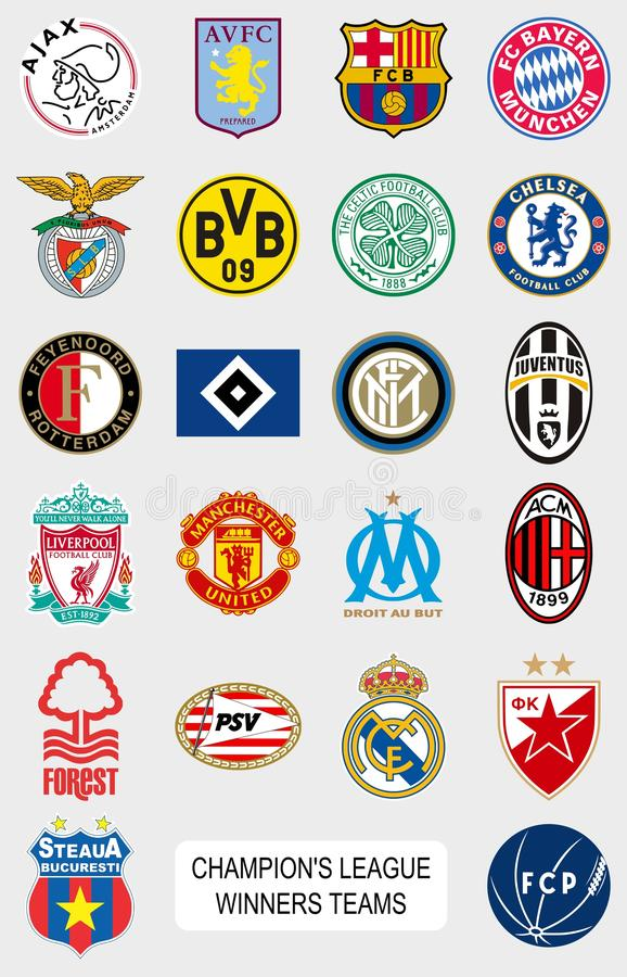 European football teams logos. Vector official logos collection of the most important european football (soccer) teams - champion's league winners. Updated to