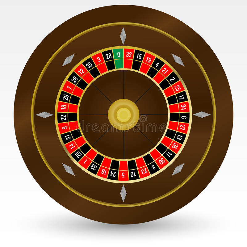 European (French) Casino Roulette Wheel Vector Illustration. On White royalty free illustration
