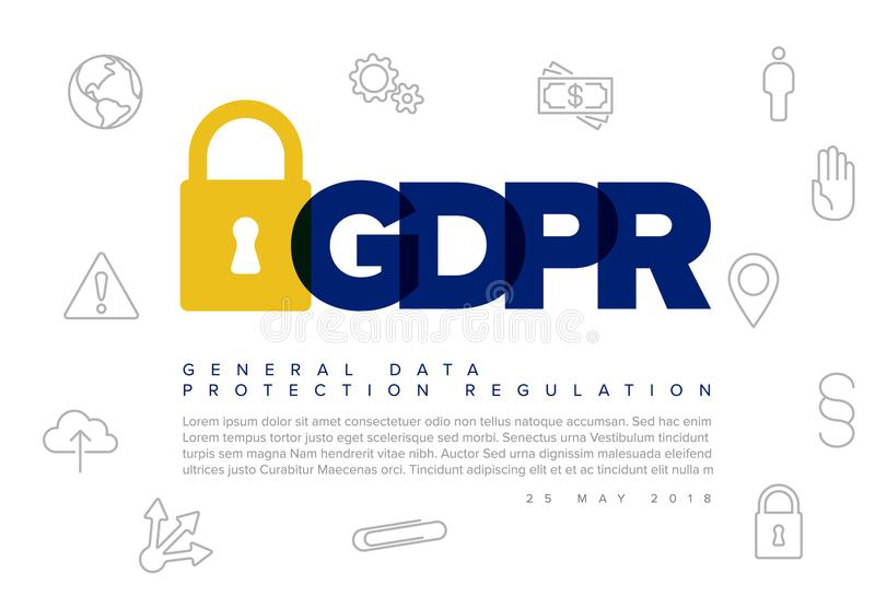European GDPR concept flyer template stock illustration