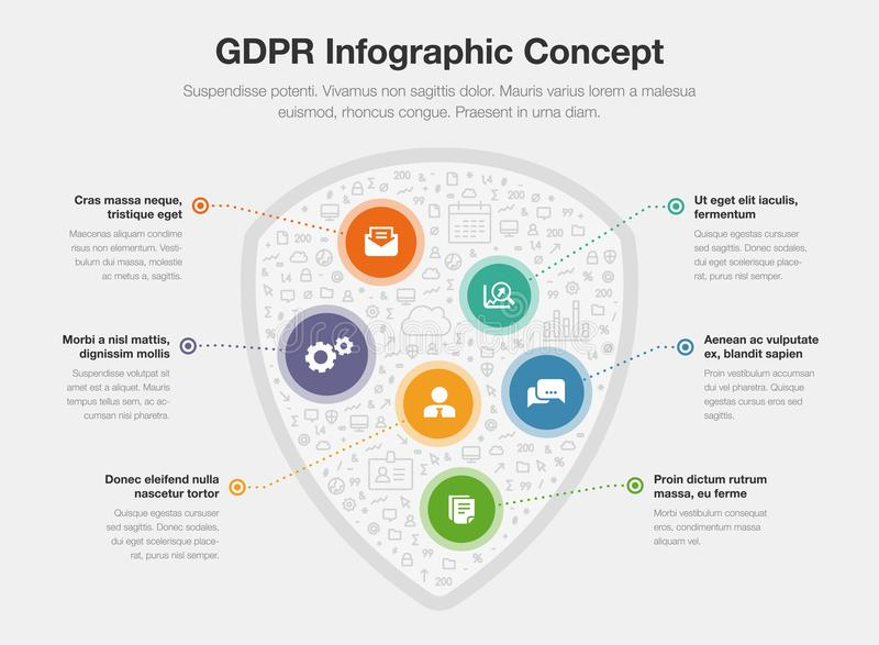European GDPR infographic concept with shield symbol filled with small icons royalty free illustration