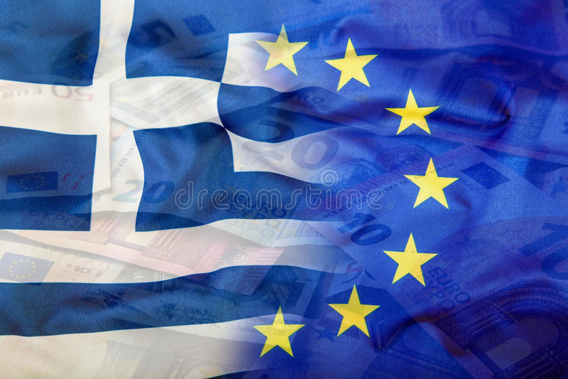 European and Greece flag. Euro money. Euro currency. Colorful waving Euro and greece flag on a euro money background. Symbolic rep royalty free stock images